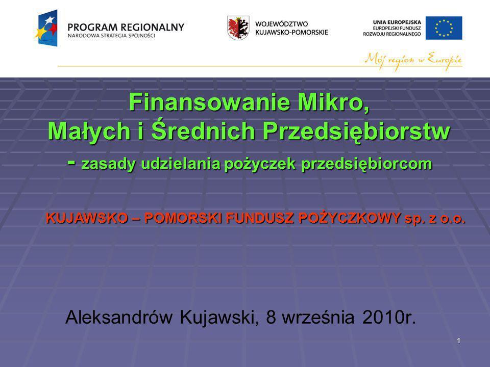 1 Finansowanie Mikro, Małych i Średnich Przedsiębiorstw - zasady udzielania pożyczek przedsiębiorcom Finansowanie Mikro, Małych i Średnich Przedsiębiorstw - zasady udzielania pożyczek przedsiębiorcom Aleksandrów Kujawski, 8 września 2010r.