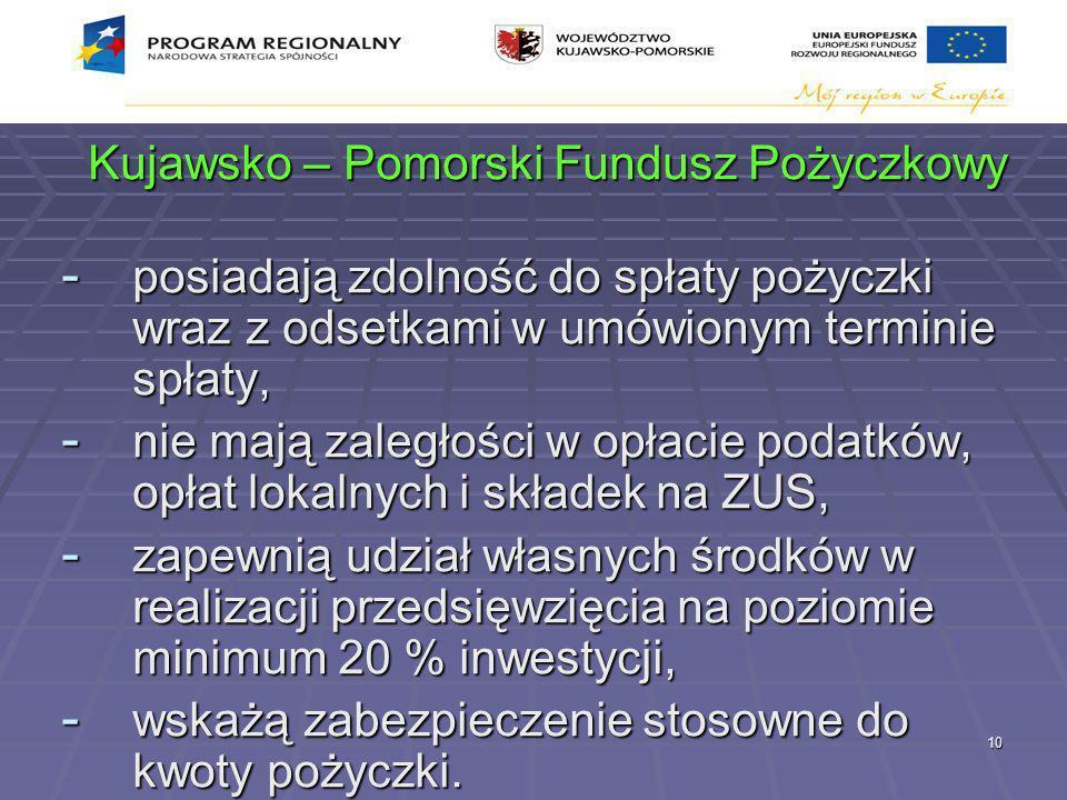 10 Kujawsko – Pomorski Fundusz Pożyczkowy - posiadają zdolność do spłaty pożyczki wraz z odsetkami w umówionym terminie spłaty, - nie mają zaległości w opłacie podatków, opłat lokalnych i składek na ZUS, - zapewnią udział własnych środków w realizacji przedsięwzięcia na poziomie minimum 20 % inwestycji, - wskażą zabezpieczenie stosowne do kwoty pożyczki.