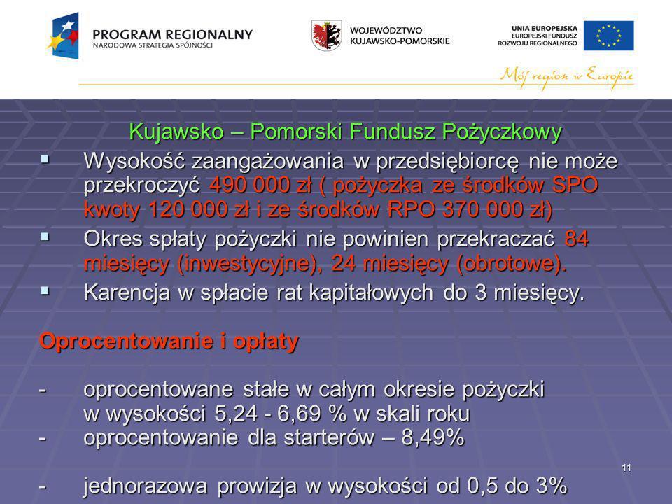 11 Kujawsko – Pomorski Fundusz Pożyczkowy Wysokość zaangażowania w przedsiębiorcę nie może przekroczyć 490 000 zł ( pożyczka ze środków SPO kwoty 120 000 zł i ze środków RPO 370 000 zł) Wysokość zaangażowania w przedsiębiorcę nie może przekroczyć 490 000 zł ( pożyczka ze środków SPO kwoty 120 000 zł i ze środków RPO 370 000 zł) Okres spłaty pożyczki nie powinien przekraczać 84 miesięcy (inwestycyjne), 24 miesięcy (obrotowe).