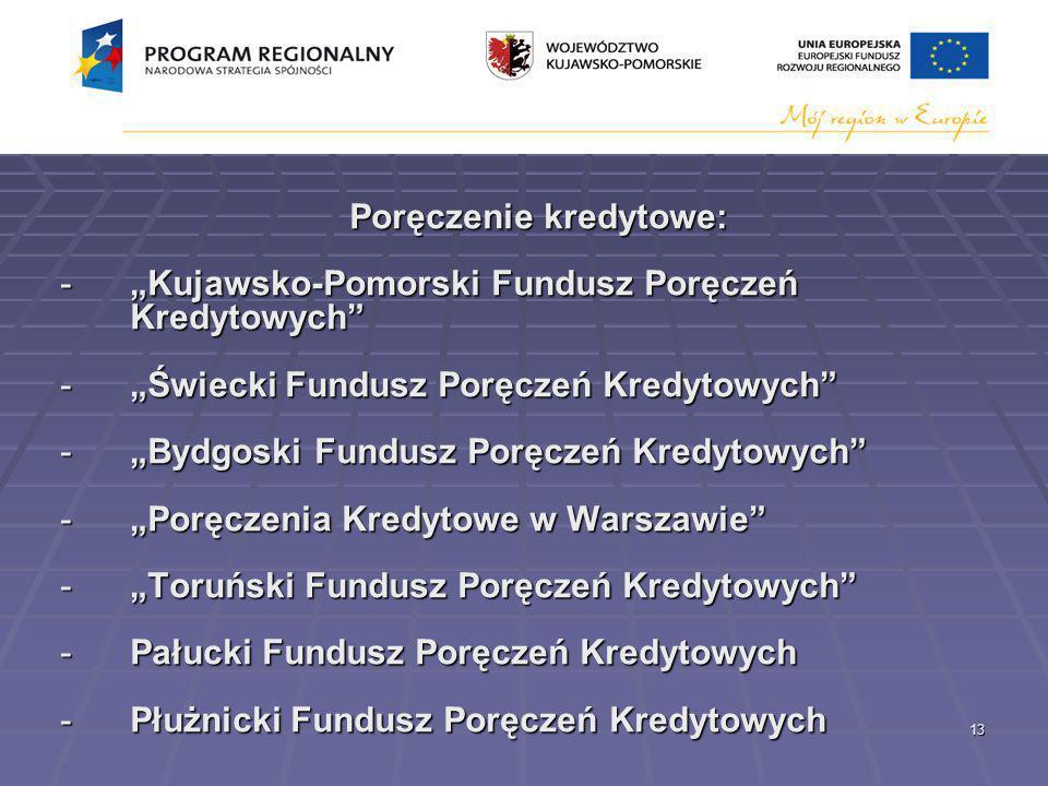 13 Poręczenie kredytowe: -Kujawsko-Pomorski Fundusz Poręczeń Kredytowych -Świecki Fundusz Poręczeń Kredytowych -Bydgoski Fundusz Poręczeń Kredytowych -Poręczenia Kredytowe w Warszawie -Toruński Fundusz Poręczeń Kredytowych -Pałucki Fundusz Poręczeń Kredytowych -Płużnicki Fundusz Poręczeń Kredytowych