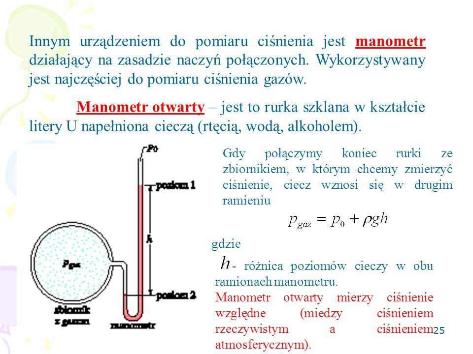 26 Manometr zamknięty (do mierzenia niskich ciśnień) – składa się z rurki szklanej zgiętej w kształcie litery U i mającej jeden koniec zatopiony.