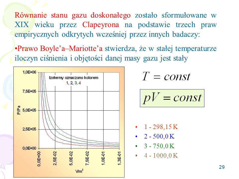 30 Prawo Charlesa mówi, że przy stałej objętości gazu stosunek ciśnienia i temperatury danej masy gazu jest stały 1 - 0,100 m 3 2 - 0,050 m 3 3 - 0,020 m 3 4 - 0,010 m 3