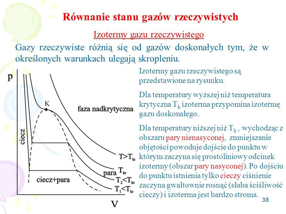 39 Równanie Van der Waalsa Równanie stanu gazu doskonałego pV = nRT dobrze opisuje gazy rzeczywiste ale przy małych gęstościach.