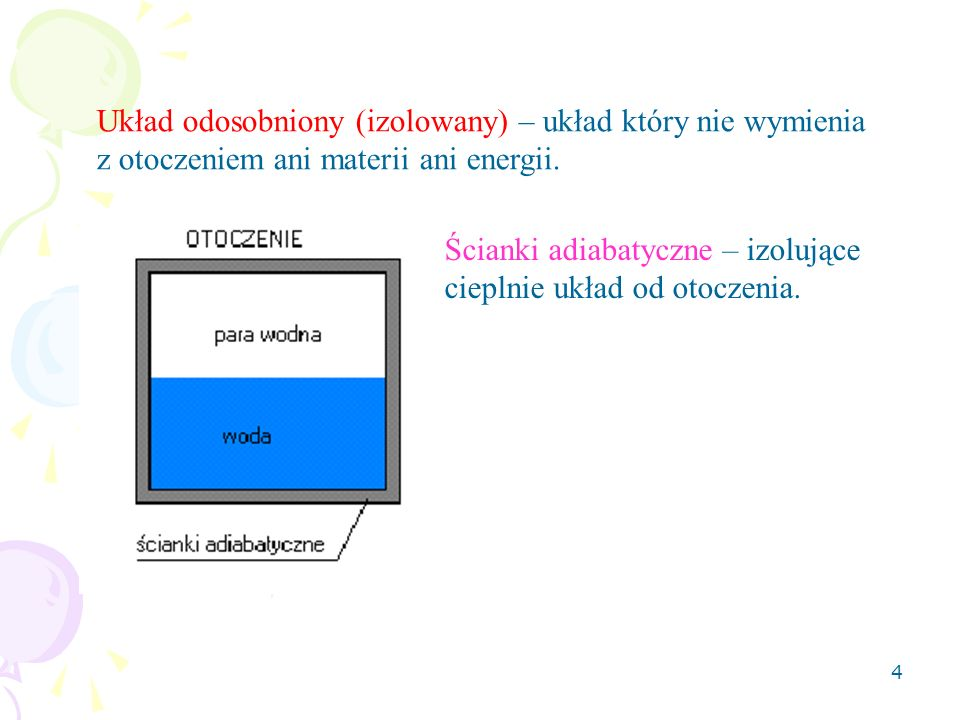 5 Układ otwarty – układ który może wymieniać z otoczeniem zarówno energię (przewodnictwo cieplne, promieniowanie) jak i materię (np.