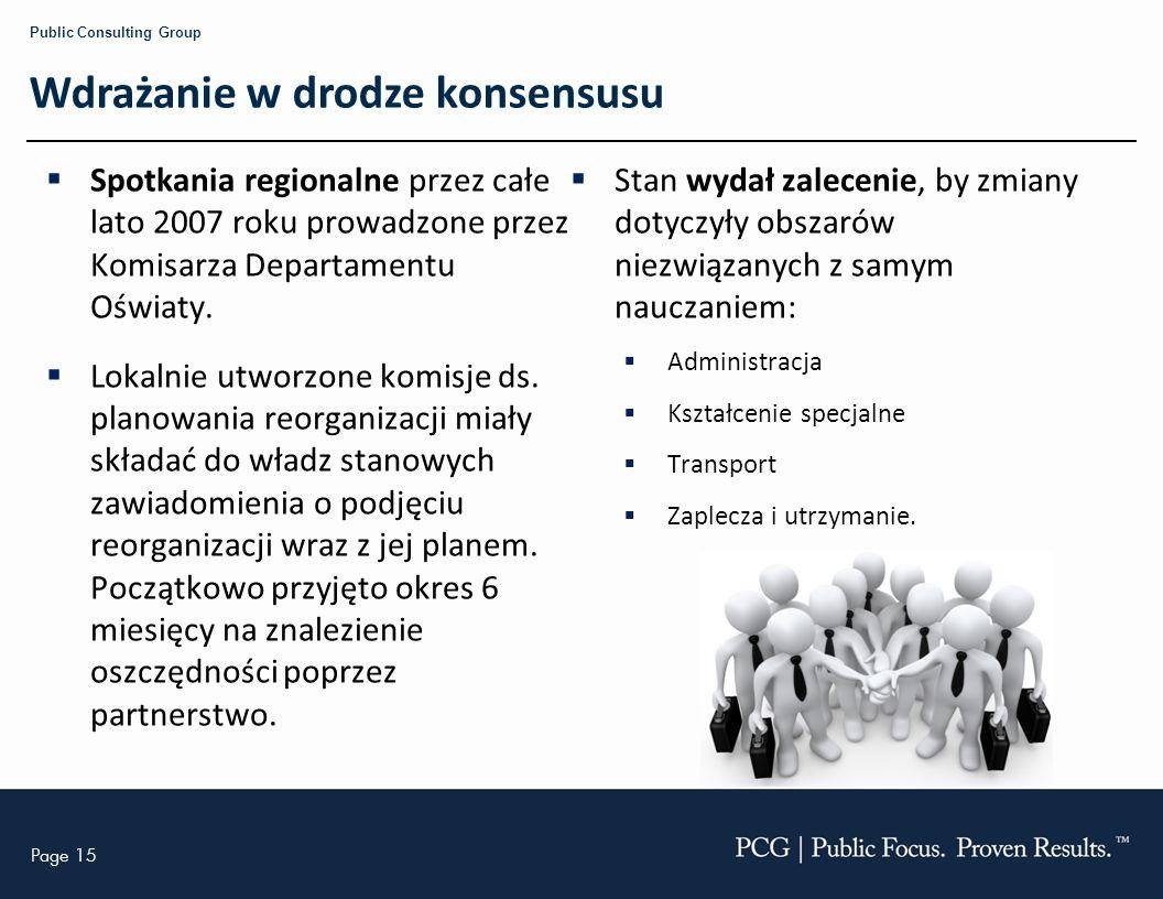 Page 15 Public Consulting Group Wdrażanie w drodze konsensusu Spotkania regionalne przez całe lato 2007 roku prowadzone przez Komisarza Departamentu Oświaty.