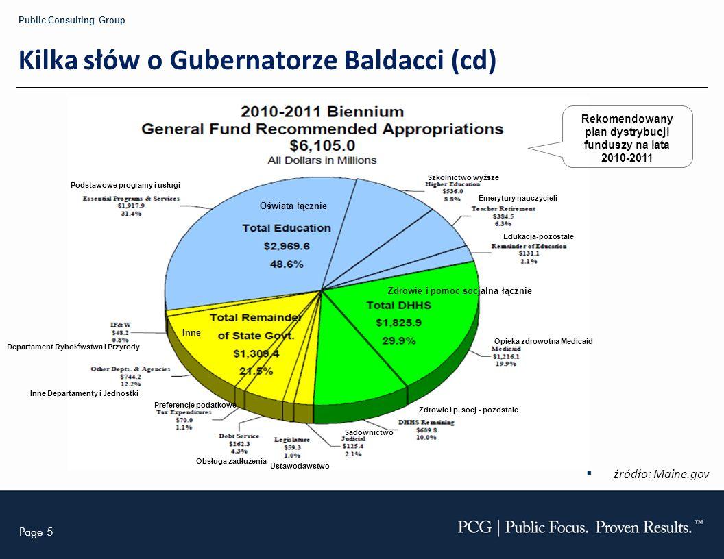 Page 5 Public Consulting Group Kilka słów o Gubernatorze Baldacci (cd) źródło: Maine.gov Rekomendowany plan dystrybucji funduszy na lata 2010-2011 Pod