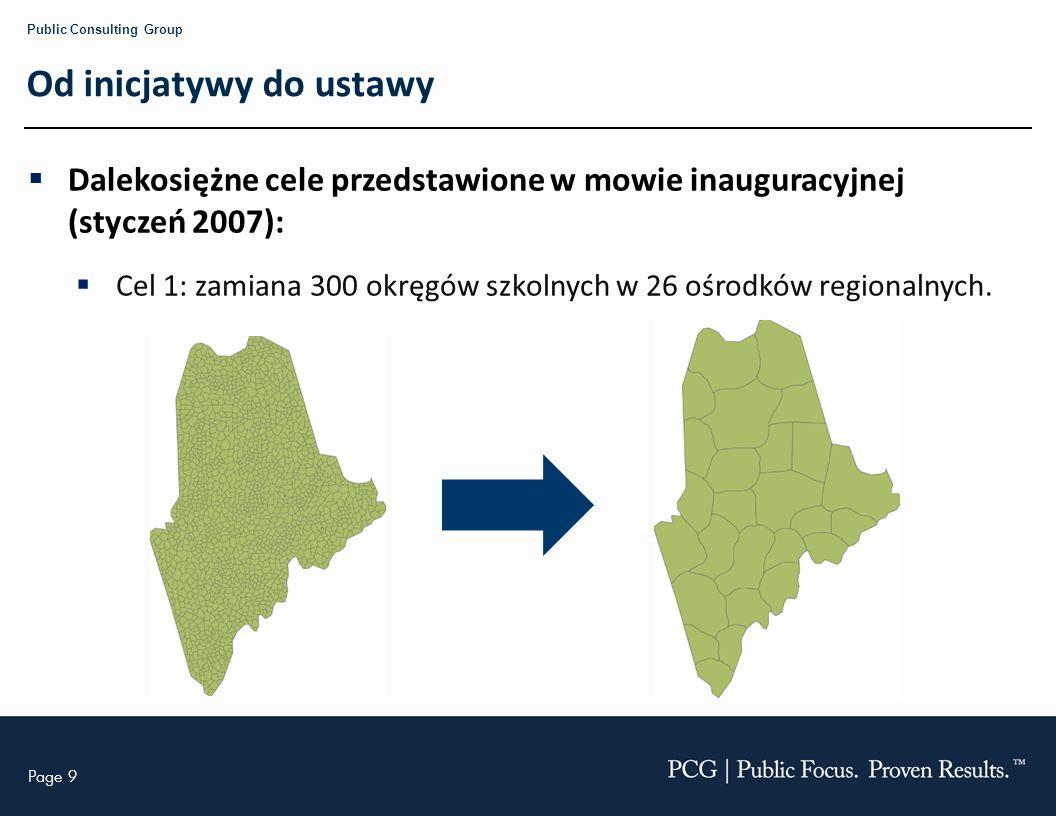 Page 9 Public Consulting Group Od inicjatywy do ustawy Dalekosiężne cele przedstawione w mowie inauguracyjnej (styczeń 2007): Cel 1: zamiana 300 okręgów szkolnych w 26 ośrodków regionalnych.