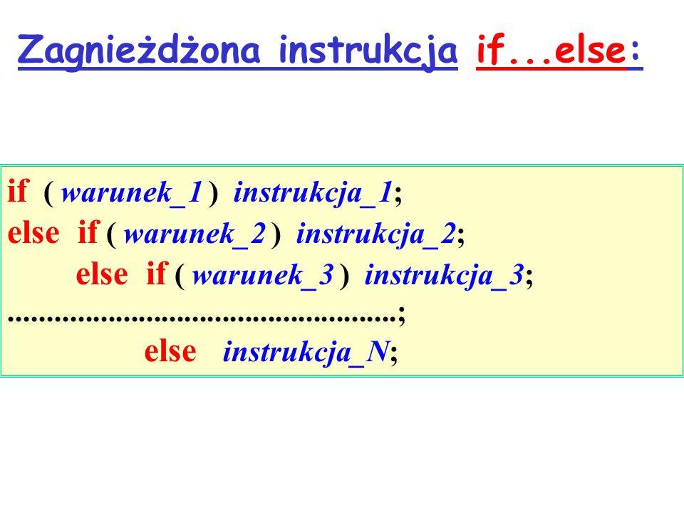 Zagnieżdżona instrukcja if...else: if ( warunek_1 ) instrukcja_1; else if ( warunek_2 ) instrukcja_2; else if ( warunek_3 ) instrukcja_3;.............
