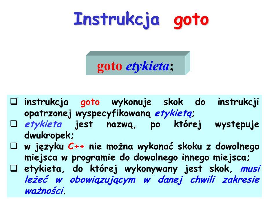 Instrukcja goto goto etykieta; instrukcja goto wykonuje skok do instrukcji opatrzonej wyspecyfikowaną etykietą; etykieta jest nazwą, po której występu