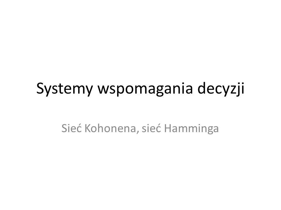 Systemy wspomagania decyzji Sieć Kohonena, sieć Hamminga