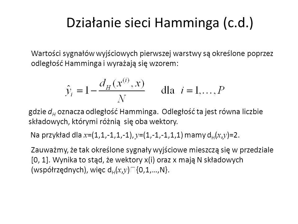 Działanie sieci Hamminga (c.d.) Wartości sygnałów wyjściowych pierwszej warstwy są określone poprzez odległość Hamminga i wyrażają się wzorem: gdzie d