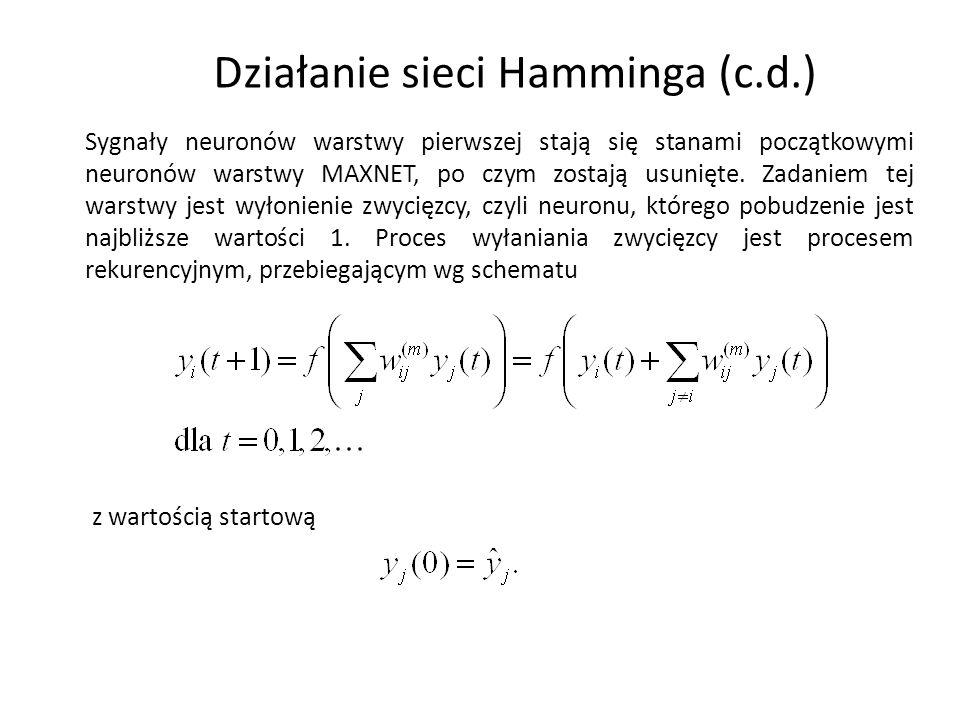 Działanie sieci Hamminga (c.d.) Sygnały neuronów warstwy pierwszej stają się stanami początkowymi neuronów warstwy MAXNET, po czym zostają usunięte. Z