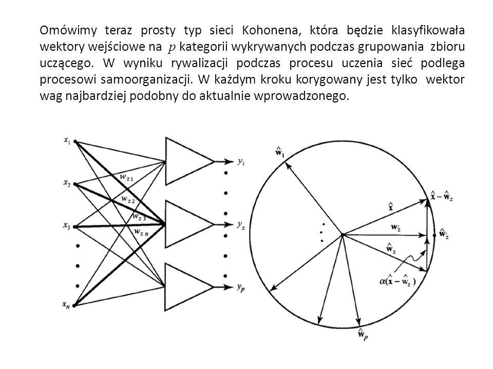 Omówimy teraz prosty typ sieci Kohonena, która będzie klasyfikowała wektory wejściowe na p kategorii wykrywanych podczas grupowania zbioru uczącego. W