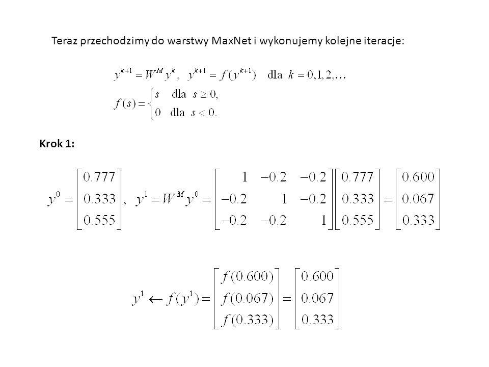 Teraz przechodzimy do warstwy MaxNet i wykonujemy kolejne iteracje: Krok 1: