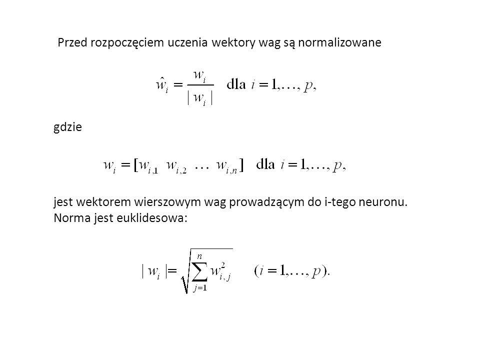Do korekcji wybierany jest taki neuron i=z ( z zwycięzca), dla którego odległości jest najmniejsza.