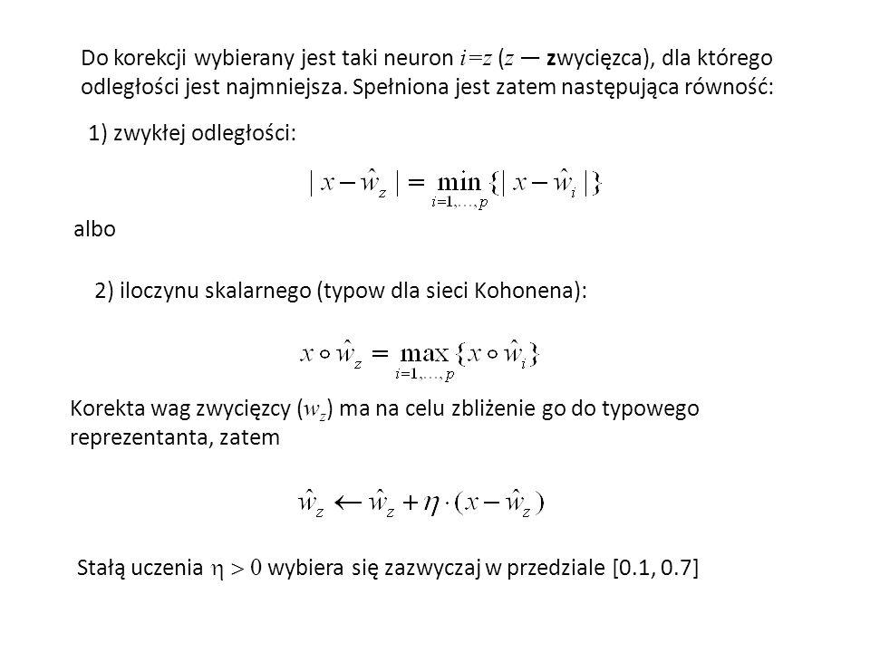 Do korekcji wybierany jest taki neuron i=z ( z zwycięzca), dla którego odległości jest najmniejsza. Spełniona jest zatem następująca równość: albo Kor