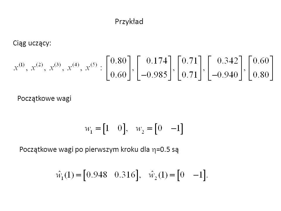 Po wielu iteracjach wagi ustawiają się wg następujących zależności Oznacza to, że wskazują one środki ciężkości wykrytych grup.