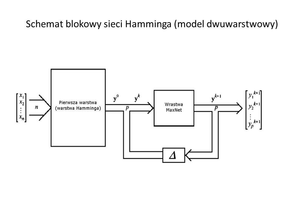 Schemat połączeń w sieci Hamminga (model trójwarstwowy z dodatkową warstwą wyjścia) warstwa MAXNET x1x1 xNxN y1y1 yMyM w (1) = w H w (m) w (2) 1 P 1 P 1 M warstwa wejściowawarstwa wyjściowa