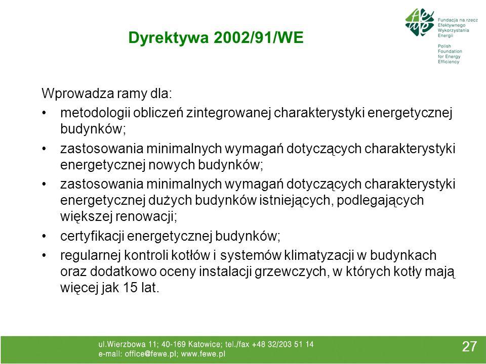 Dyrektywa 2002/91/WE 27 Wprowadza ramy dla: metodologii obliczeń zintegrowanej charakterystyki energetycznej budynków; zastosowania minimalnych wymaga