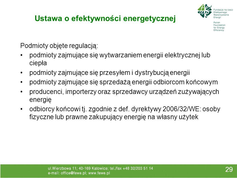 Ustawa o efektywności energetycznej 29 Podmioty objęte regulacją: podmioty zajmujące się wytwarzaniem energii elektrycznej lub ciepła podmioty zajmują