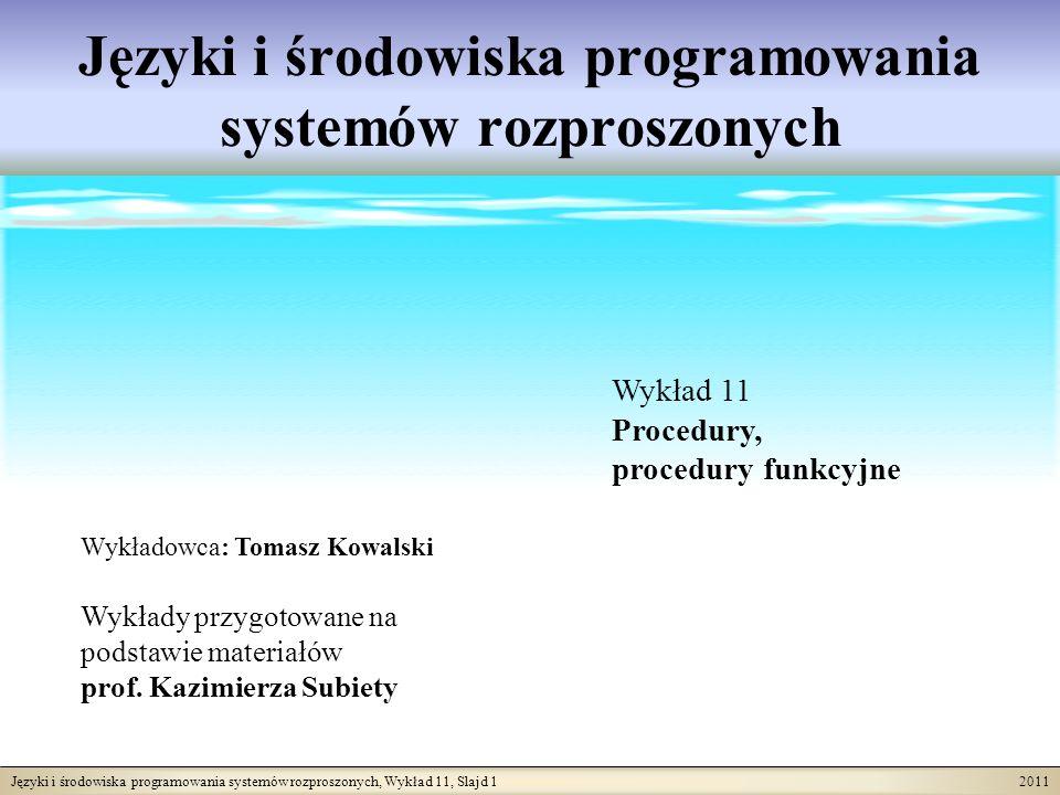 Języki i środowiska programowania systemów rozproszonych, Wykład 11, Slajd 2 2011 Krótka charakterystyka procedur Imperatywne języki programowania, w tym języki obiektowe, są wyposażone w mechanizmy procedur.