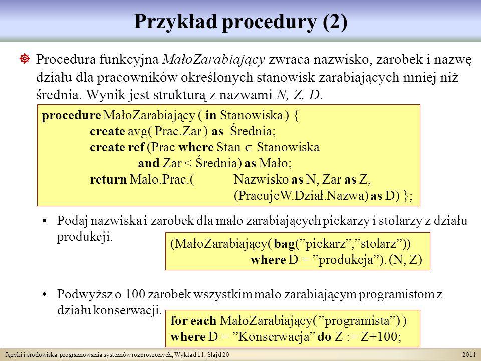 Języki i środowiska programowania systemów rozproszonych, Wykład 11, Slajd 20 2011 Przykład procedury (2) Procedura funkcyjna MałoZarabiający zwraca nazwisko, zarobek i nazwę działu dla pracowników określonych stanowisk zarabiających mniej niż średnia.