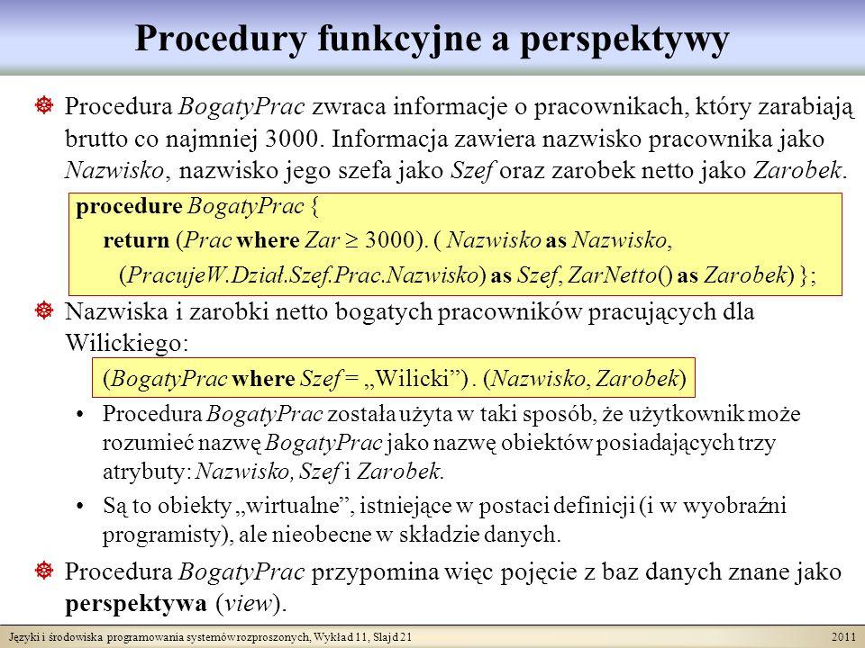 Języki i środowiska programowania systemów rozproszonych, Wykład 11, Slajd 21 2011 Procedury funkcyjne a perspektywy Procedura BogatyPrac zwraca informacje o pracownikach, który zarabiają brutto co najmniej 3000.