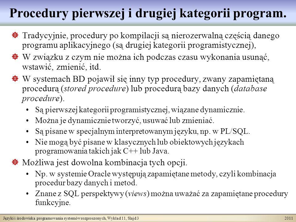 Języki i środowiska programowania systemów rozproszonych, Wykład 11, Slajd 3 2011 Procedury pierwszej i drugiej kategorii program.