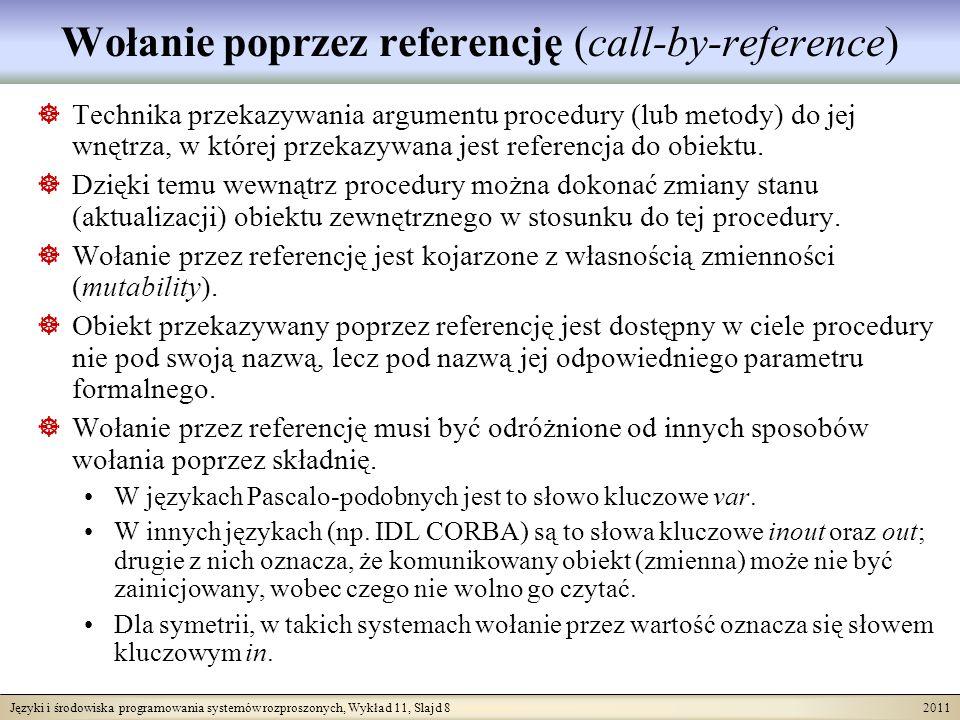 Języki i środowiska programowania systemów rozproszonych, Wykład 11, Slajd 19 2011 Przykład procedury (1) Procedura ZmieńDział zmienia dział dla pracowników komunikowanych jako parametr P na dział komunikowany jako parametr D.
