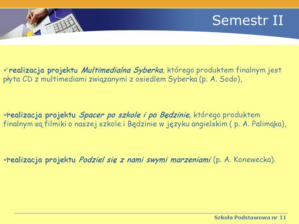 Semestr II Szkoła Podstawowa nr 11 realizacja projektu Multimedialna Syberka, którego produktem finalnym jest płyta CD z multimediami związanymi z osiedlem Syberka (p.