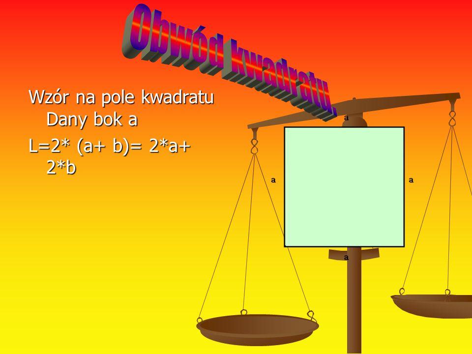 Wzór na pole kwadratu Dany bok a L=2* (a+ b)= 2*a+ 2*b