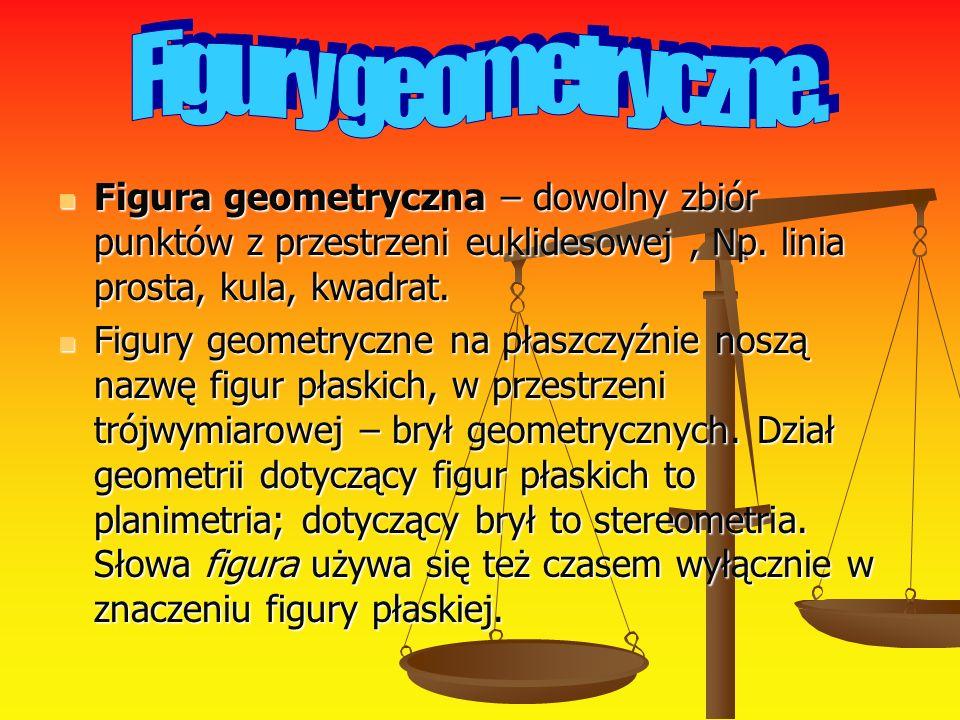 Figura geometryczna – dowolny zbiór punktów z przestrzeni euklidesowej, Np. linia prosta, kula, kwadrat. Figura geometryczna – dowolny zbiór punktów z