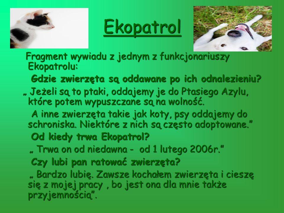 Ekopatrol Fragment wywiadu z jednym z funkcjonariuszy Ekopatrolu: Fragment wywiadu z jednym z funkcjonariuszy Ekopatrolu: Gdzie zwierzęta są oddawane