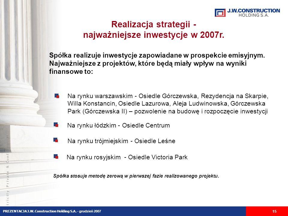 S t r i c t l y P r i v a t e & C o n f i d e n t i a l Realizacja strategii - najważniejsze inwestycje w 2007r.