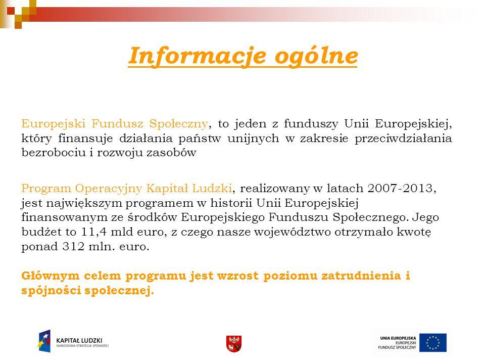 Informacje ogólne Europejski Fundusz Społeczny, to jeden z funduszy Unii Europejskiej, który finansuje działania państw unijnych w zakresie przeciwdzi