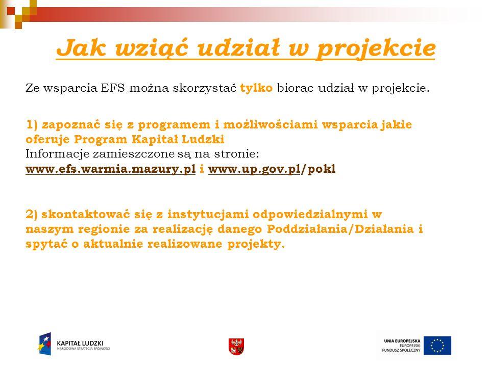 Jak wziąć udział w projekcie Ze wsparcia EFS można skorzystać tylko biorąc udział w projekcie. 1) zapoznać się z programem i możliwościami wsparcia ja