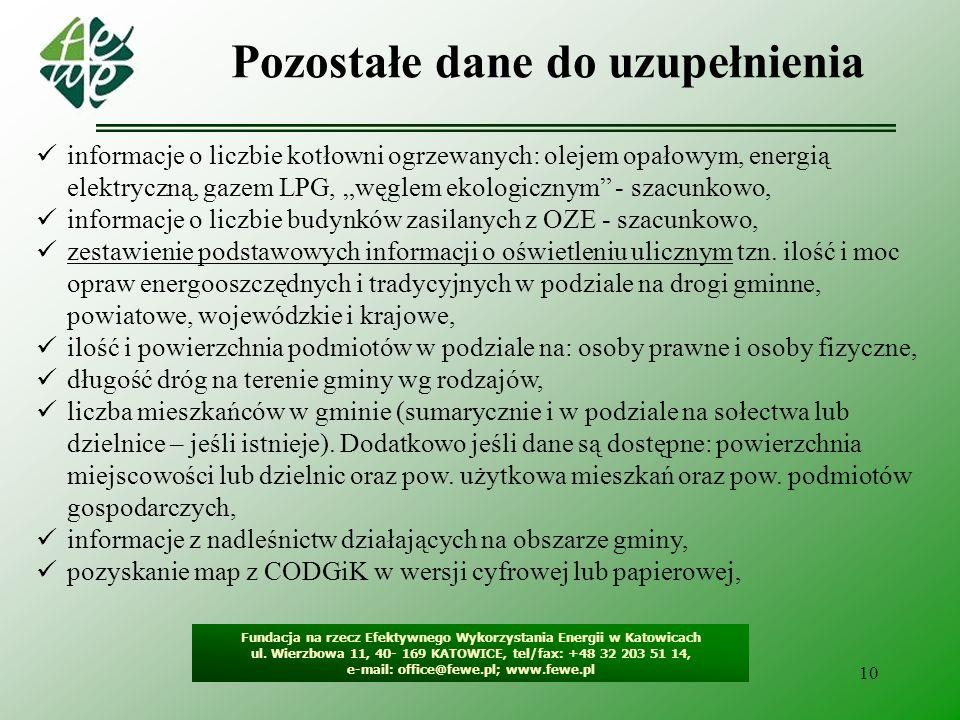 10 Pozostałe dane do uzupełnienia Fundacja na rzecz Efektywnego Wykorzystania Energii w Katowicach ul. Wierzbowa 11, 40- 169 KATOWICE, tel/fax: +48 32
