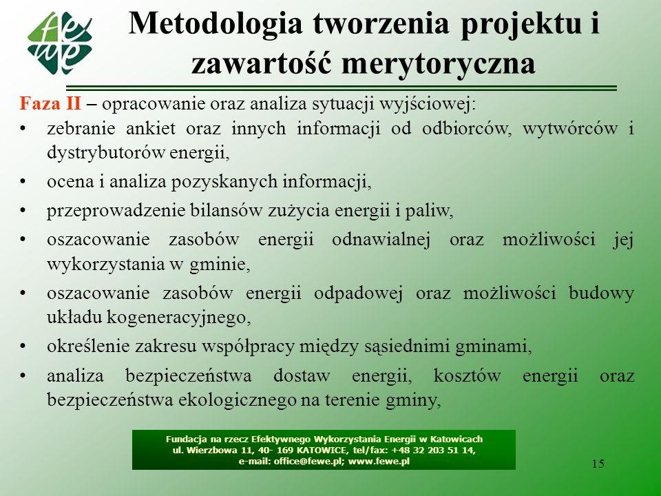 15 Fundacja na rzecz Efektywnego Wykorzystania Energii w Katowicach ul. Wierzbowa 11, 40- 169 KATOWICE, tel/fax: +48 32 203 51 14, e-mail: office@fewe