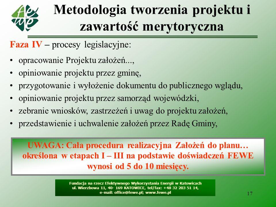 17 Metodologia tworzenia projektu i zawartość merytoryczna Fundacja na rzecz Efektywnego Wykorzystania Energii w Katowicach ul. Wierzbowa 11, 40- 169
