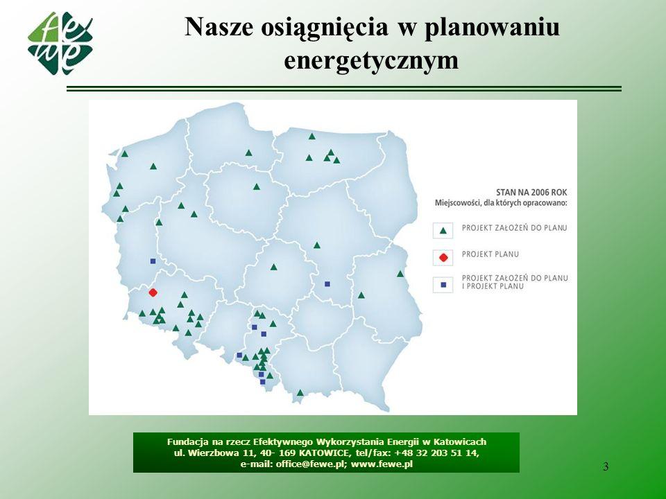 3 Nasze osiągnięcia w planowaniu energetycznym Fundacja na rzecz Efektywnego Wykorzystania Energii w Katowicach ul. Wierzbowa 11, 40- 169 KATOWICE, te