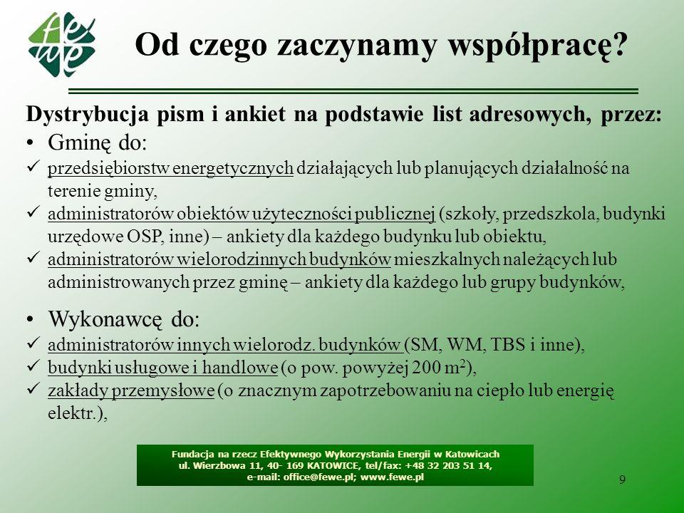 9 Od czego zaczynamy współpracę? Fundacja na rzecz Efektywnego Wykorzystania Energii w Katowicach ul. Wierzbowa 11, 40- 169 KATOWICE, tel/fax: +48 32