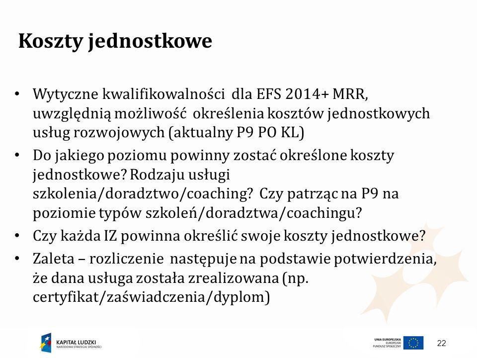 22 Koszty jednostkowe Wytyczne kwalifikowalności dla EFS 2014+ MRR, uwzględnią możliwość określenia kosztów jednostkowych usług rozwojowych (aktualny