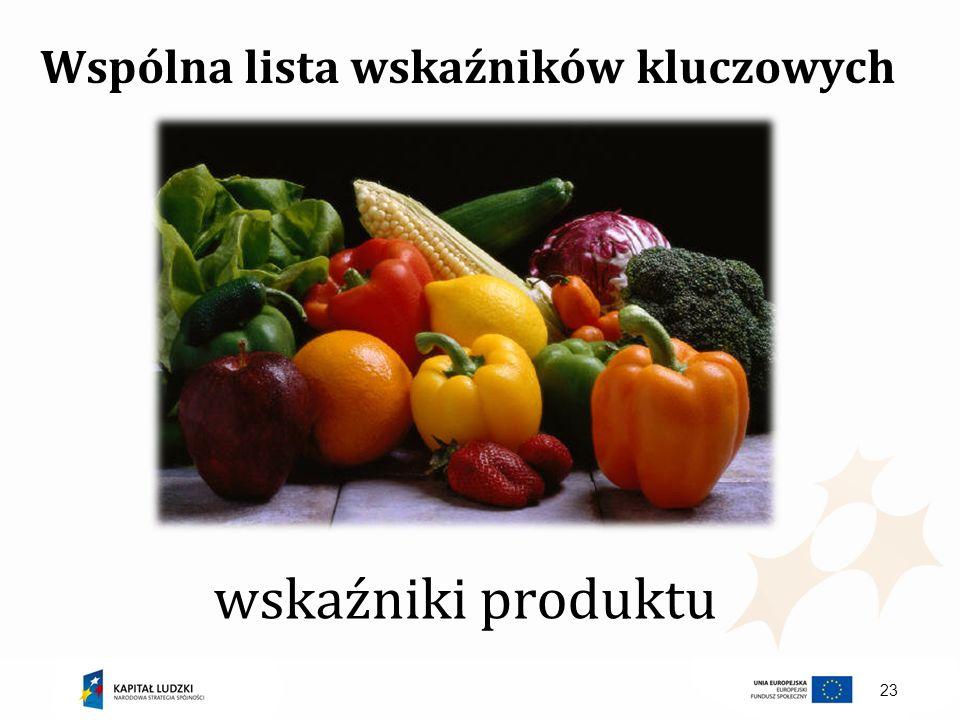 Wspólna lista wskaźników kluczowych wskaźniki produktu 23