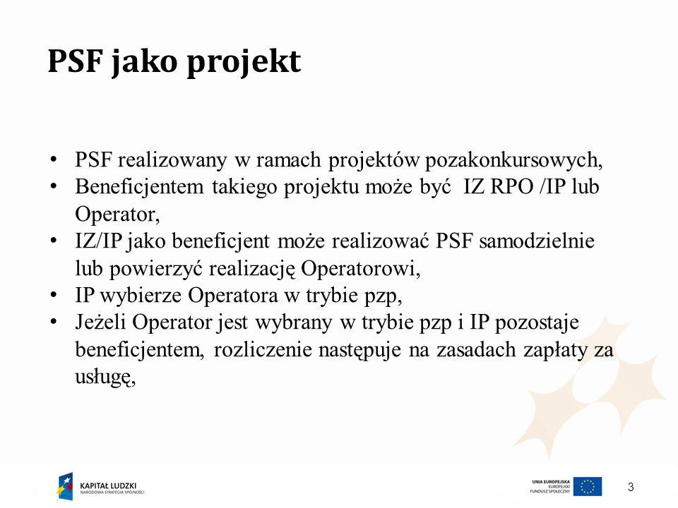 4 PSF jako projekt IZ/IP może zrobić konkurs zamknięty w którym wybierze Operatora do wdrażania PSF, Operator jest beneficjentem i podpisuje umowę dofinansowania, Rozliczenie z IZ/IP RPO następuje po kosztach a więc tak jak rozliczenie dotacji,