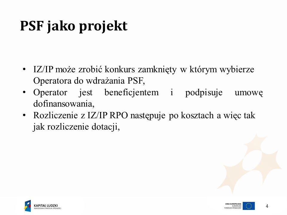4 PSF jako projekt IZ/IP może zrobić konkurs zamknięty w którym wybierze Operatora do wdrażania PSF, Operator jest beneficjentem i podpisuje umowę dof