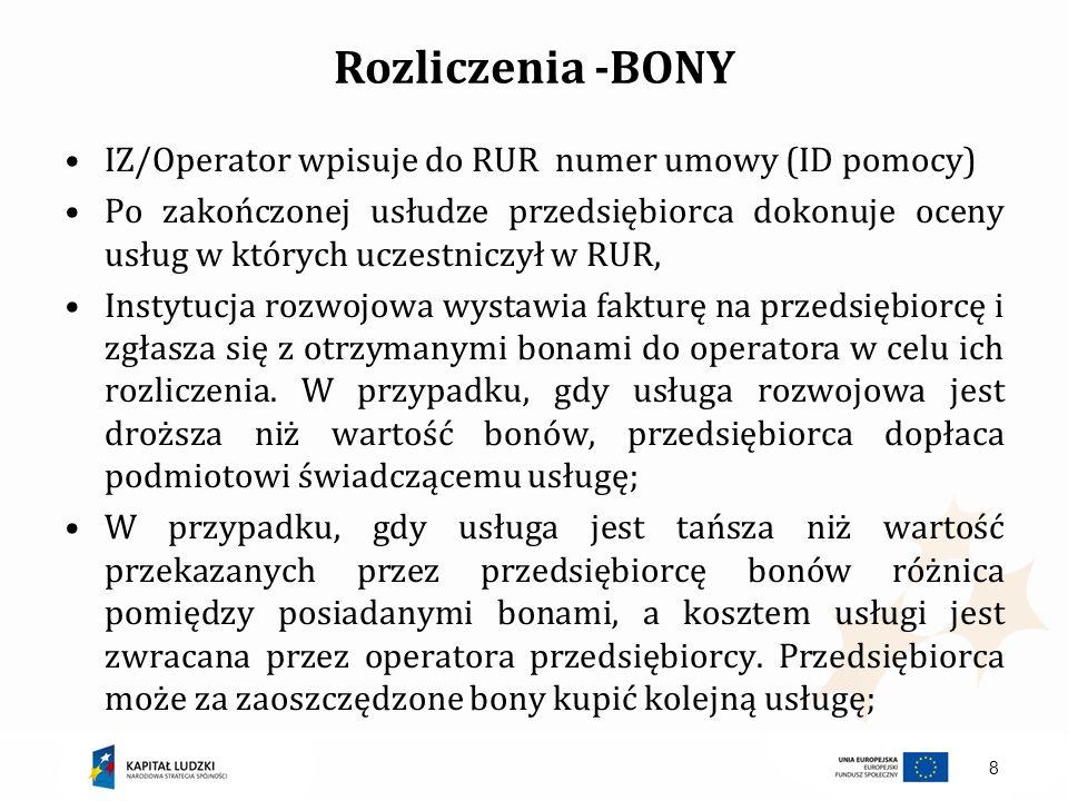 Rozliczenia -BONY IZ/Operator wpisuje do RUR numer umowy (ID pomocy) Po zakończonej usłudze przedsiębiorca dokonuje oceny usług w których uczestniczył
