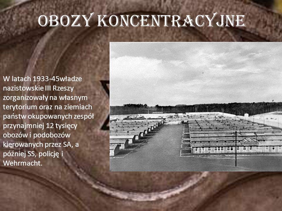 W latach 1933-45władze nazistowskie III Rzeszy zorganizowały na własnym terytorium oraz na ziemiach państw okupowanych zespół przynajmniej 12 tysięcy