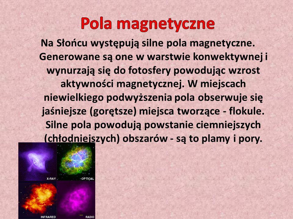 W chromosferze silne pola magnetyczne są odpowiedzialne za protuberancje - łukowate struktury, których kształt jest dyktowany przez konfigurację pola magnetycznego.