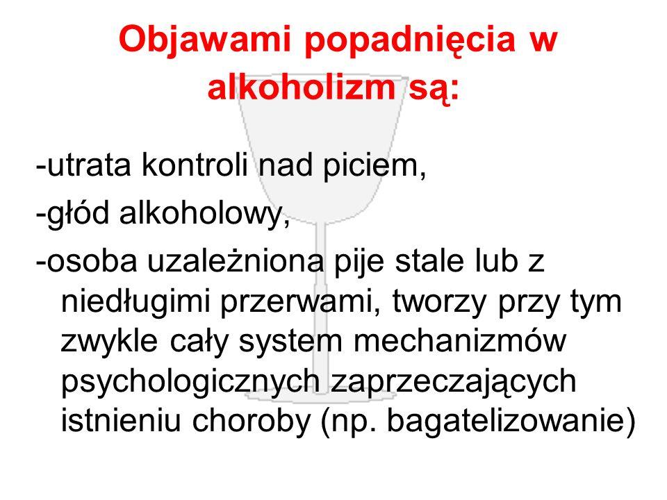Objawami popadnięcia w alkoholizm są: -utrata kontroli nad piciem, -głód alkoholowy, -osoba uzależniona pije stale lub z niedługimi przerwami, tworzy