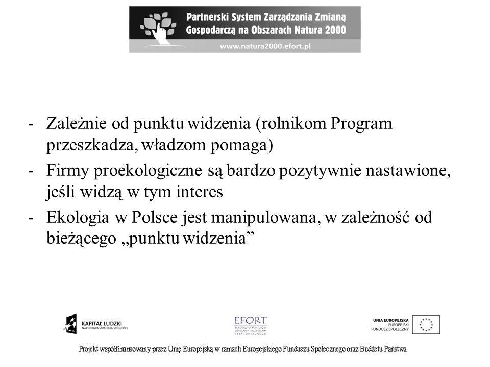 -Zależnie od punktu widzenia (rolnikom Program przeszkadza, władzom pomaga) -Firmy proekologiczne są bardzo pozytywnie nastawione, jeśli widzą w tym interes -Ekologia w Polsce jest manipulowana, w zależność od bieżącego punktu widzenia